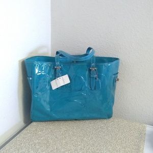 Coach Turquoise Patent Leather Shoulder Bag